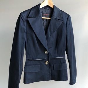 Escada Navy Cotton Blazer Jacket